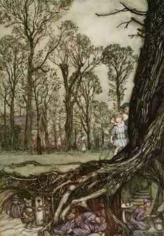 """The Fairies Would Hide Until Dusk"" from Peter Pan in Kensington Gardens (J.M. Barrie) by Arthur Rackham."
