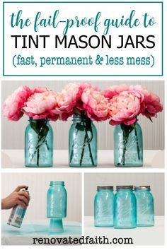 Forget painting mason jars with Elmer's glue or mod podge! This is the easiest way to tint glassware or lanterns any color without messy food coloring & they are waterproof! Tinting mason jars blue is just part of this easy DIY tutorial as it shows how to make the lids look vintage & rustic with paint. Make centerpieces with pink peonies or containers for Christmas gifts. You can also make pink painted mason jars for baby showers! Spray Painting Glass, Chalk Spray Paint, Best Spray Paint, Spray Paint Mason Jars, Tinted Mason Jars, Frosted Mason Jars, Jar Crafts, Bottle Crafts, Dollar Store Crafts