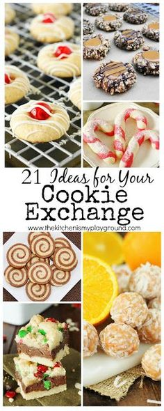 21 Cookie Exchange Ideas ~ these Christmas treats will be the hit of any get-together! Galletas Cookies, Candy Cookies, Cookie Desserts, Holiday Cookies, Holiday Treats, Christmas Treats, Just Desserts, Holiday Recipes, Cookie Recipes