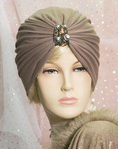 1920s VINTAGE INSPIRED MOCHA TURBAN CLOCHE HAT DOWNTON ABBEY GATSBY