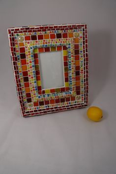 hand made glass mosaic photo frame by ColoreMosaics on Etsy