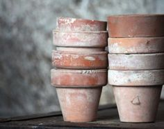 Vintage Terra Cotta Garden Pots - Fine Art Photograph 5x7 - Home Decor Spring Summer Gardening- Featured on the FRONT PAGE