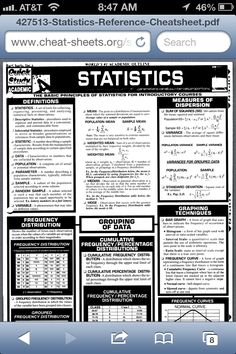 Statistics Reference Sheet