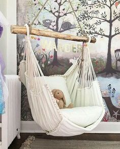 This hammock chair and woodland wall mural wallpaper are wonderful design ideas for a baby nursery, kid's room or playroom - Unique Nursery and Children's Room Decor - KindredVintage Co. Summer Tour Enchanted Forest Mural is from Anthropologie, room ideas Teenage Girl Bedrooms, Little Girl Rooms, Bedroom Girls, Girs Bedroom Ideas, Girls Flower Bedroom, Small Childrens Bedroom Ideas, Bedroom Ideas For Small Rooms For Girls, Unique Teen Bedrooms, Tween Girls Bedroom Ideas