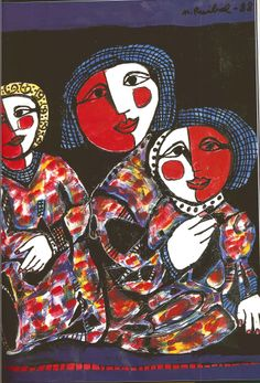 """Expresionismo de Mercedes Ruibal.""""Tres mujeres"""" pintadas en acrílico sobre lienzo. Conoce más en http://elarcadelarte.blogspot.com.es/2013/04/pintar-escribir-y-vivir.html"""