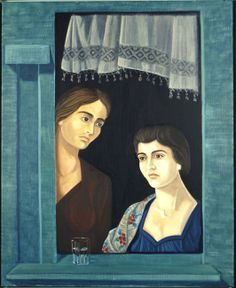 ''Two female shapes'' by Savas Haratsidis Greece Painting, Street Art, Paintings I Love, Classical Art, Blue Art, Conceptual Art, Gravure, Artist Painting, Female Art