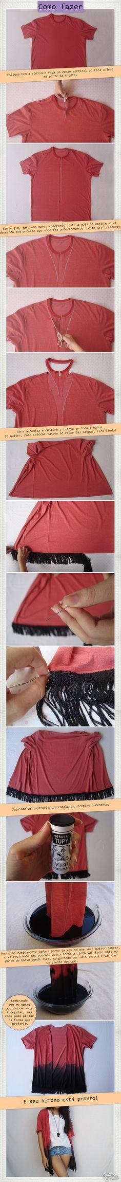 DIY Kimono fashion   DIY Fashion   DIY Quimono   More details on http://www.cademeuchapeu.com/diy-kimono