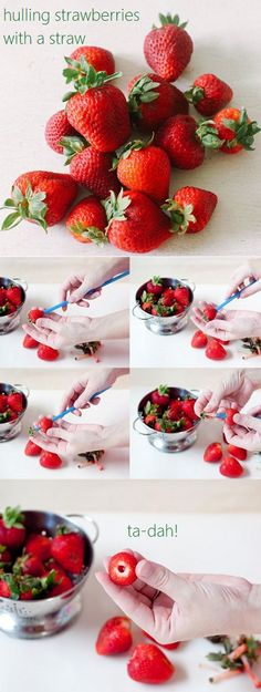 A nifty little trick to hulling strawberries using an ordinary drinking straw:)