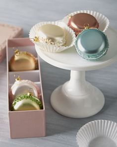 Six French Macaron Glass Christmas Ornaments by Katherine\'s Collection at Horchow.