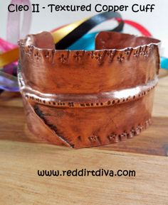 CLEO II Copper Fold Formed Textured Cuff by Red Dirt Diva