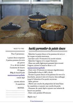Carton Recette n°80 Recipe Cards, Mashed Potatoes, Cooking, Ethnic Recipes, Food, Sweet Potato, Dutch Oven, Cooking Food, Salad
