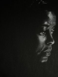 White Charcoal On Black Paper. The expression is great. So eerie.