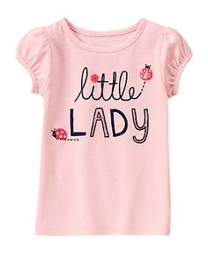 Gymboree Pink 'Little Lady' Puff-Sleeve Tee - Infant & Toddler Toddler Girl Outfits, Kids Outfits, Toddler Girls, Baby Boys, Shirts For Girls, Kids Shirts, T Shirt Custom, Kids Graphics, Polo Outfit