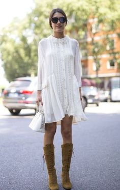 Cream boho dress with tan suede boots
