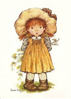 Holly Hobbie and Sarah Key were late romantic illustreted dolls dressed with C American folk clothes: aprons, dresses with flowe. Sarah Key, Holly Hobbie, Cute Images, Cute Pictures, Dibujos Cute, Australian Artists, Cute Illustration, Illustrations, Vintage Cards