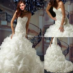Wholesale 2014 New Super luxury Ruffles Organza Applique Beaded Mermaid Wedding Dresses Sweetheart Strapless Covered Button Wedding Dress Bridal Gowns, Free shipping, $124.54/Piece   DHgate Mobile