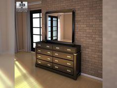 3D Model Ashley Diana Dresser Mirror c4d, obj, 3ds, fbx
