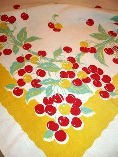 Beautiful!!! Wildendhur tablecloth with cherries and jadeite green leaves!!