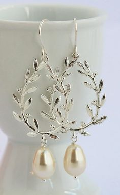 Silver Laurel Wreath Earrings Pearl Earrings. For the group Laurels