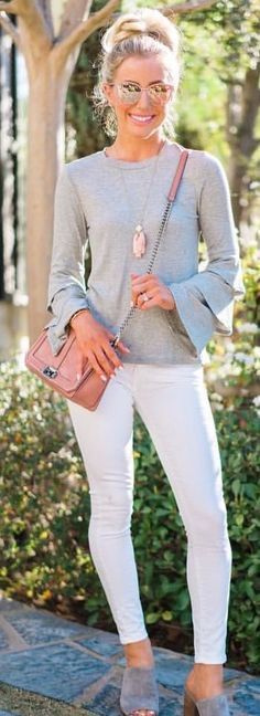 #spring #outfits woman wearing gray trumpet-sleeved shirt. Pic by @katelynpjones