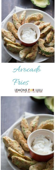 Avocado fries are simply avocado slices that have  been baked until tender on the inside and crisp and golden on the outside.  The Greek dipping sauce is the perfect side! lemonsforlulu.com