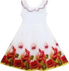 Flower Girl Dress Sunflower Garden Turn-down Collar Sleeveless Size 5 #SunnyFashion #Everyday