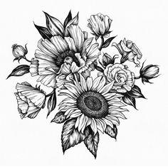 Dibujos flores y hojas