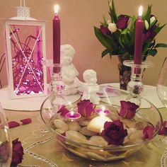 Romantyczna kolacja tylko we dwoje! Dekostacja.wordpress.com #heart #candles #romantic #love #valentine #rose #dinner