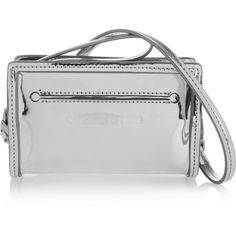 McQ Alexander McQueen Addicted Cell metallic leather shoulder bag ($410) ❤ liked on Polyvore featuring bags, handbags, shoulder bags, silver, genuine leather purse, real leather purses, shoulder handbags, leather shoulder handbags and leather purse
