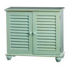 Finished in light blue and showcasing louvered doors and turned bun feet, this wood end table adds a pop of coastal style to your living room or bedroom.    ...