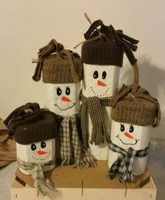 Snowman family from landscaping timber. Not too bad for my first try. By April Winkler