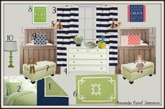 """I LOVE THAT THE NAVY IS A SHARED COLOR!!!  I have been trying to figure out how I can make Briar and John's room """"mesh"""" together, seeing as I can't just split it in half.  (It has an odd shape).  THIS IS PERFECT!!  Amanda Carol at Home / design board for a shared bedroom for girl and boy"""