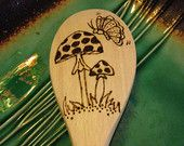 Mushroom & Butterfly Spoon, Free Shipping Storewide, Wood Burned Spoons, Pyrography, Kitchen, Wood Spoons, Mushroom Spoon
