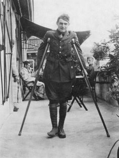 WWI: Ernest Hemingway on crutches as he recovers in Italy from the serious injuries to his legs. 1918