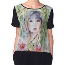 'Rainbow Hair Woman' by jurast Framed Prints, Canvas Prints, Rainbow Hair, Chiffon Tops, Tie Dye, Woman, Shirts, Art, Fashion