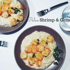 Enjoy a classic Southern favorite without falling off the Paleo bandwagon. #Paleo #Shrimp #Grits