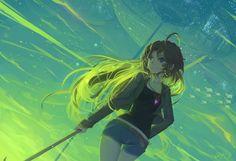 Anime - Pixiv Fantasia  Anime Woman Green Long Hair Blue Eyes Wallpaper