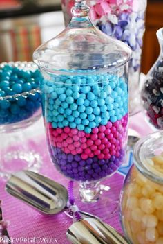 Barbie Princess + The Popstar party by Paisley Petal Events: purple-pink-aqua Sixlets candies