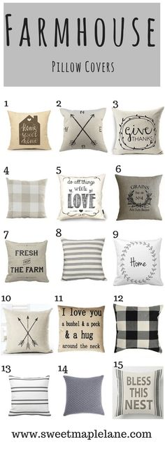 Kitchen Living Rooms Remodeling The ultimate roundup of farmhouse pillow covers! - The ultimate roundup of 15 gorgeous farmhouse pillow covers to add some classic country farmhouse style to your home decor. Living Room Pillows, Decor Pillows, Decorative Couch Pillows, Diy Throw Pillows, Decorative Pillow Covers, Country Farmhouse Decor, Farmhouse Style, Primitive Country, Country Living