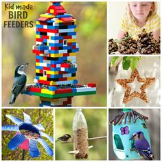 18 totally awesome bird feeder crafts for kids. I love the Lego bird feeder! Bird Feeder Craft, Bird Feeders, Crafts For Kids To Make, Diy Crafts For Kids, Craft Ideas, Montessori, Wind Chimes Craft, Spring Crafts, Kids Christmas