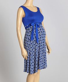 Love this Blue & White Geo Maternity Empire-Waist Dress - Women on #zulily! #zulilyfinds