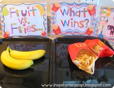 Fries vs. Fruit-what will win? Fun and eye opening science experiment!