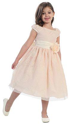 710c8011f45 Flower Girl Dresses  SK359P   Mesh Princessy Cap Sleeved Dress w  Embroidery