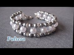 # DIY - Pulsera con perlas grises y muy facil # DIY - Bracelet with gray pearls - YouTube