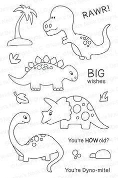 Prehistoric Pals - Dinosaur stamp set by Newton's Nook Designs Dinosaur Template, Dinosaur Pattern, Applique Patterns, Applique Designs, Quilt Patterns, Coloring Books, Coloring Pages, Ok Design, Dinosaur Crafts