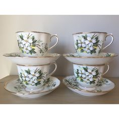 """Royal Albert """"White Dogwood"""" Vintage Teacups and Saucers, Flower Tea... ($60) ❤ liked on Polyvore featuring home, kitchen & dining, drinkware, white tea set, tea set, bone china tea set, tea-cup and bone china"""