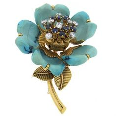 Exquisite French Turquoise Diamond Sapphire 18k Gold Flower Brooch