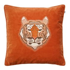 Embroidered+Tiger+Velvet+Putetrekk+50x50cm+Orange,+Chhatwal+&+Jonsson