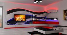 Wall Showcase Design, Tv Wall Design, Bed Design, Lcd Unit Design, Tv Wall Panel, Modern Tv Wall Units, Tv Unit Furniture, Bedroom False Ceiling Design, Tv Wall Decor