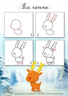 Dessin1_Comment dessiner un renne de Noël ?